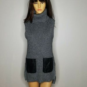 Gray & Black Banana Republic Turtleneck Dress XS